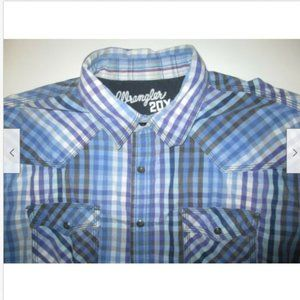Wrangler 20X Plaid Western Pearl Snap Shirt Mens L
